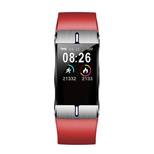 XUEMEI Smart Watch Corporal Fat Care Heart Rate Presión Arterial Monitor del Tiempo Pronóstico del Tiempo Pulsera Deportiva Pulsera de Aptitud para Android iOS (Color : Red)