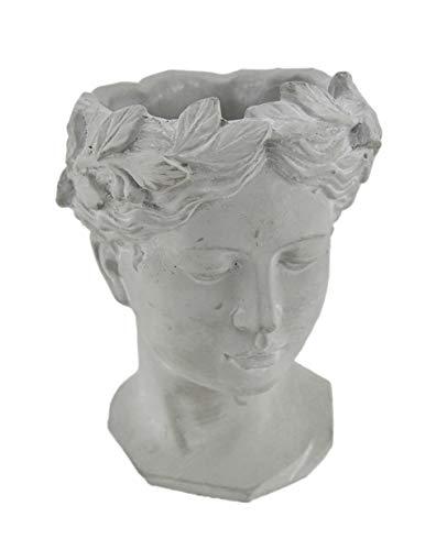 Zeckos Classic Greek Grey Lady Indoor Outdoor Cement Head Planter