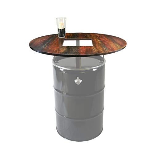 Rogge´s RelaxGrill Runde Tischplatte Dye mit Ausschnitt, d = 100cm, 21mm Multiplex-Holz, farbig gestaltet u. geölt, für 210L Ölfass als Stehtisch, Öltonne, Tonne, Fass, Feuertonne, Stahlfass
