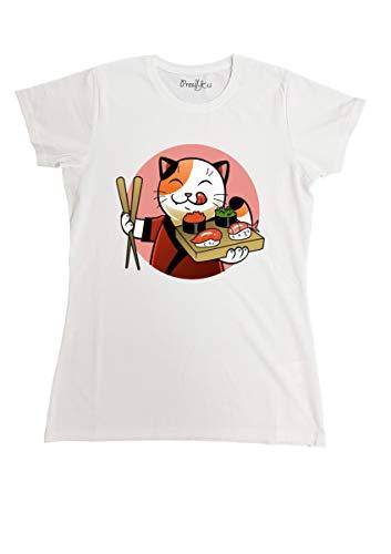 le herisson T-Shirt Maglietta Sushi Manga Love Cat Cuoco, S-Uomo Uomo