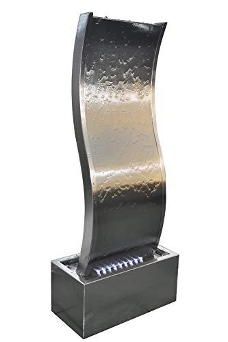 Köhko® Wasserwand ca. 97 cm in Wellenform aus Edelstahl Wasserspiel LED-Beleuchtung 23015