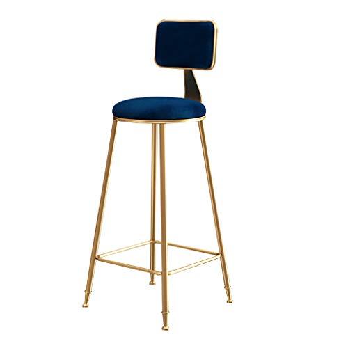 SHIJING Freizeit Bar Stühle Barhocker Frühstück Esszimmerstuhl Eiserne Kunst Gold Lässiger Hochhocker mit Fußstütze Samt gepolsterte Rückenlehne zum Zähler Küche und Heim Barhocker, Blau
