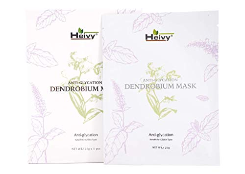 Heivy Anti Glycation facial mask (5 sheets) Potent Antioxidant Properties (1 pack) Dendrobium Serum Mask That Deter the Effects of Aging on Skin