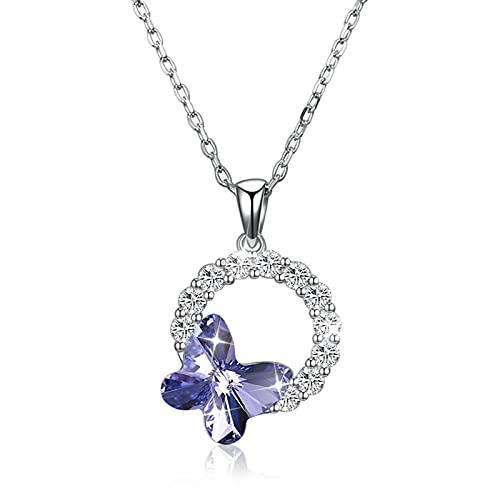 BENHAI Mujer/Niñas 925 Plateado Cristales Colgante Collar, Swarovski Element Cristales Joyería Regalo para el día de la Madre para Mujer De Amor Regalos para Mamá Niñas 41+5cm (Color : Purple)