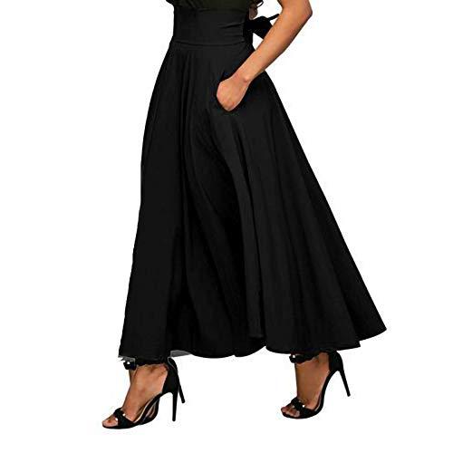 Janly Clearance Sale Falda para mujer, falda casual de cintura alta, falda hasta el tobillo, para vacaciones, verano (Negro-XL