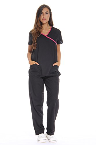 Just Love Women's Scrub Sets/5 Pocket Medical Scrubs Uniforms (Mock Wrap), Black With Pink Trim, X-Small