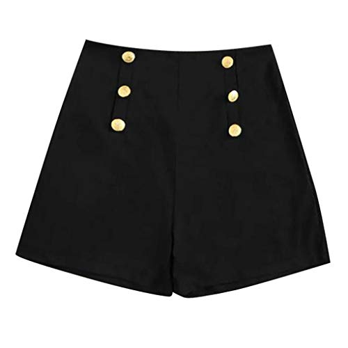 WOZOW Shorts Kurze Hose Damen Solid Einfarbig Double Breasted High Waist Lose A Line Mini Freizeithose Stoffhose Slim Cool Arbeitskleidung Casual Trousers (M,Schwarz)