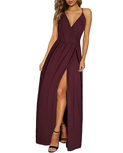 II ININ Women's Deep V-Neck Casual Dress Summer Backless Floral Print Split Maxi Dress for Beach Party(Dark Red,S)