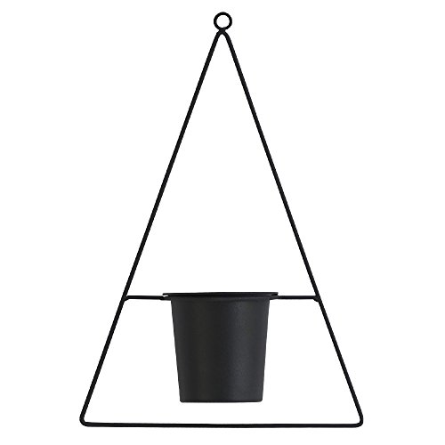 Roomnhome Indoor Floating Planter with Plastic 4'' Diameter Pot Holder 19'' Length Adjustable Ring Chain, Black Powder Coated Iron Frame Hanging Planter (Triangle/Black)