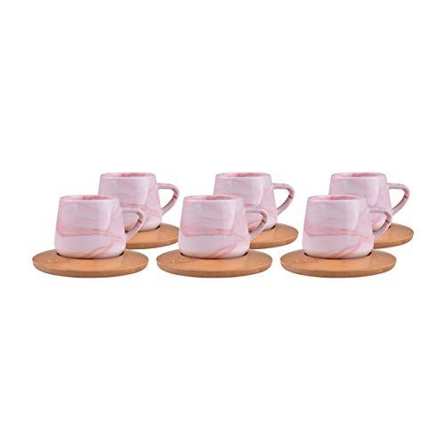 Türkische Kaffeetasse – Porzellan-Tasse & Untertasse aus Bambus – Osmanische türkische arabische griechische Stil authentische Espresso-Kaffeetasse & Untertasse Ebru Red