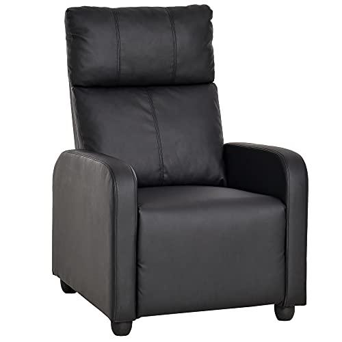HOMCOM Relaxsessel Ruhesessel Fernsehsessel Sessel mit Liegefunktion Kunstleder (Schwarz)