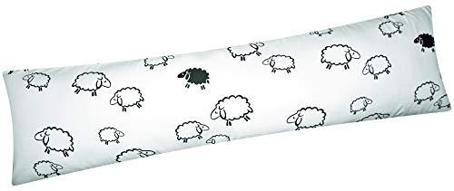Heubergshop Baumwoll Renforcé Seitenschläferkissen Bezug 40x145cm - Schafe Lämmer in Weiß und Schwarz - Öko-Tex 100% Baumwolle Stillkissenbezug (99-2-B)