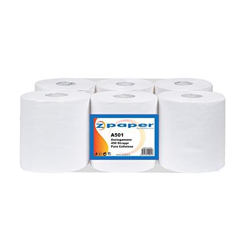 ZPAPER - 6 Rotoli Asciugamani - Carta Pura Cellulosa 450 Strappi a Rotolo, 2 Veli, Anima a Spirale, Confezionati. Rotoli Bobine Asciugatutto. 2700 Strappi Totali