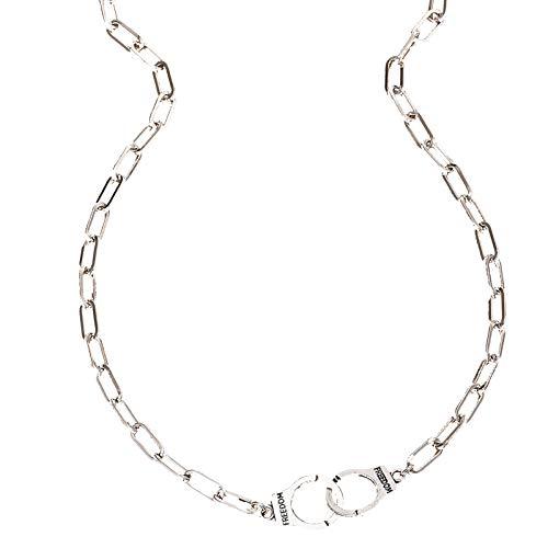 sudalv1971 Collares Creativos, Diseño De Esposas, Cadena En O, Diseño Especial, Collar De Cuello Circular De Enlace Infinito De Acero Inoxidable para Mujer Plata