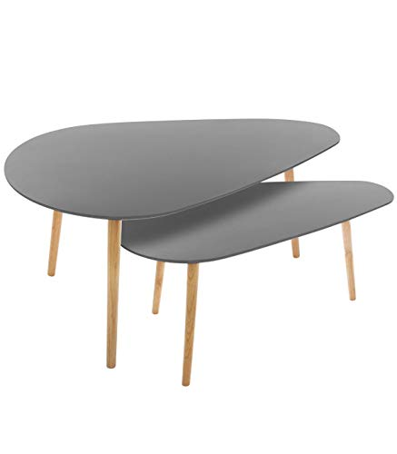 Atmosphera - Lot de Tables de café Grises Mileo - Gris