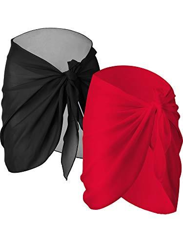 2 Pezzi Nero e Bianco Donne Spiaggia Wrap Sarong Coprire Gonne Avvolgenti del Costume da Bagno Chiffon (Nero e Rosso, Corto)