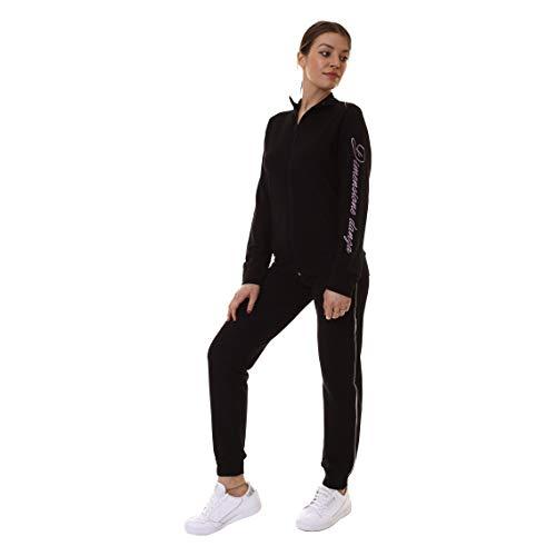 DIMENSIONE DANZA Tuta Full Zip + Pantalone Donna in FELPINA Stretch Nero 20EDD70399 S
