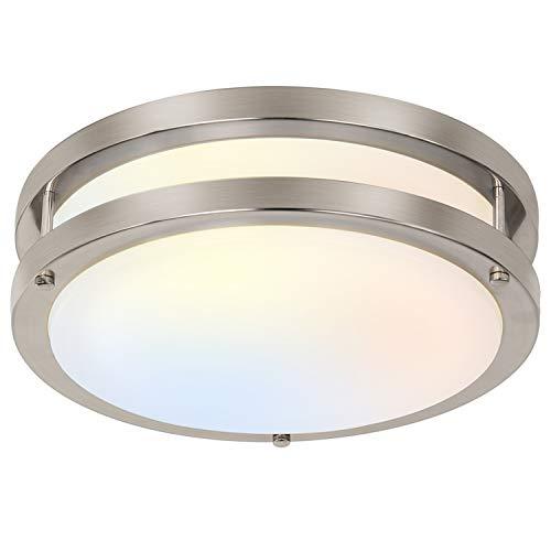 13 inch Flush Mount LED Ceiling Light Fixture, 3000K/4000K/5000K Adjustable Ceiling Lights, Brushed Nickel Saturn Dimmable Lighting for Hallway Bathroom Kitchen or Stairwell, ETL Listed