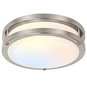 hykolity 13 inch Flush Mount LED Ceiling Light Fixture, 3000K/4000K/5000K Adjustable Ceiling Lights, Brushed Nickel Saturn Dimmable Lighting forhallway Bathroom Kitchen or Stairwell, ETL Listed