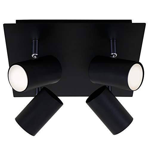 Briloner Leuchten Deckenspot, Schwenkbar, Deckenlampe, Deckenleuchte 4-flammig, GU10, max. 40 Watt, Schwarz