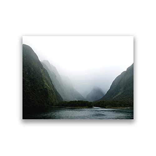 Milford Sound Nya Zeeland Landskapsfotografiaffisch Kanvasmålning Bergtryck Väggkonst Bild Vardagsrum Heminredning-50x70cm Ingen ram