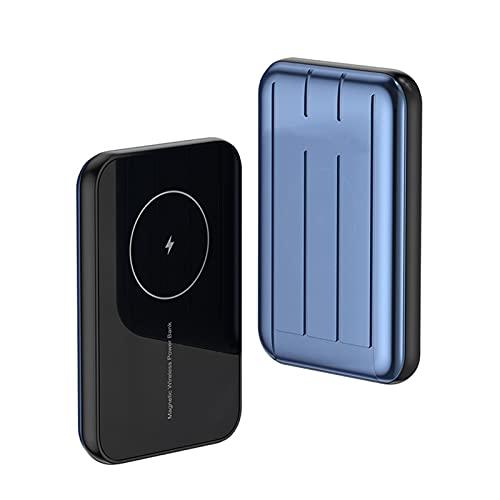 Banco de energía magnética portátil 10000 mAh, Qc3.0 15 W Cargador Express Inalámbrico, 20 W Pd Usb C Tipo C Batería Externa, Compatible con iPhone 12/12 Mini/Pro/Max (5000 mAh, azul)