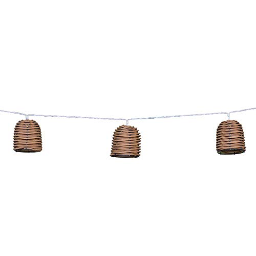 Guirlande lumineuse solaire 10 abat-jour poly rotin LED blanc chaud FORMENTERA 3.80m