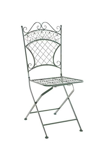 CLP Chaise de Jardin Pliante Adelar - Chaise de Balcon en Fer Forgé - Meuble de Terrasse et pour Usage Extérieur - Hauteur Assise 47 cm - Couleur Vert Antique