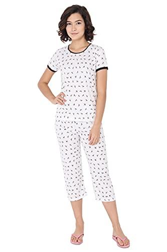 Fflirtygo Top and Capri Set for Women Cotton, Night Dress,...