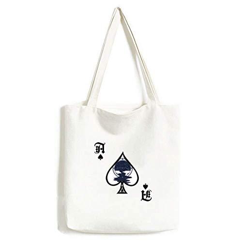 Bolsa de mão com estampa de arte da floresta Stars Creek para artesanato poker Spade sacola de compras