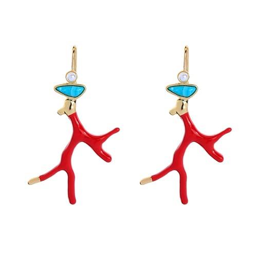 XIGAWAY Orecchini pendenti in resina acrilica smaltata rossa con corna di corallo e ramo, gioielli alla moda per ragazza