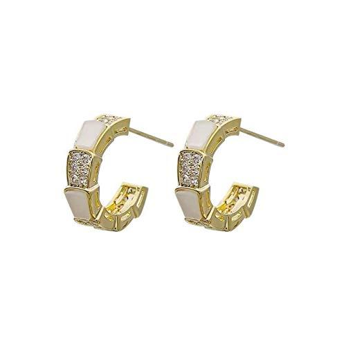 DSJTCH Nuevos Pendientes de Metal de Concha Blanca Elegantes exquisitos para Mujer Pendientes inusuales de la Boda de la joyería de la Mujer de la Manera de la Mujer (Metal Color : Gold Color)