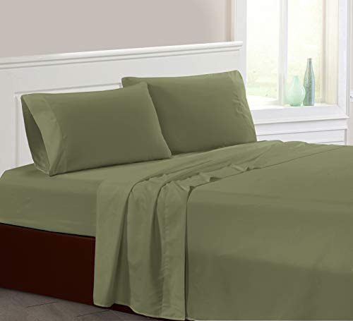 """AZORE LINEN Brushed Super Soft Easy Care Solid Microfiber Bed Sheet Set with 14"""" Deep Pockets All Around Elastic and Corner Straps 2200 Series (Sage Green, Queen)"""