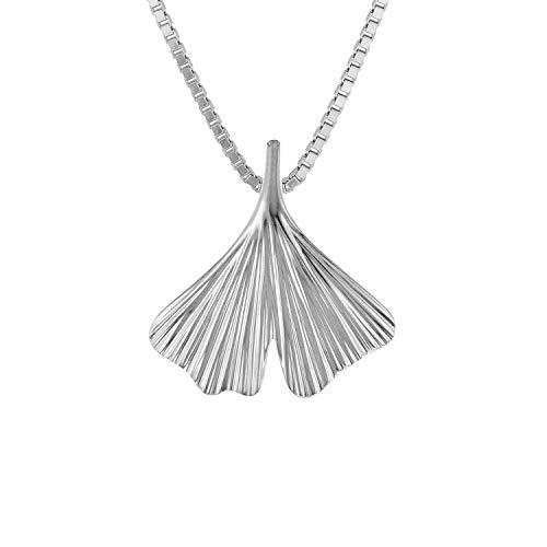 trendor Ginkgo Blatt mit Venezianer Halskette 925 Silber 08931-50 50 cm