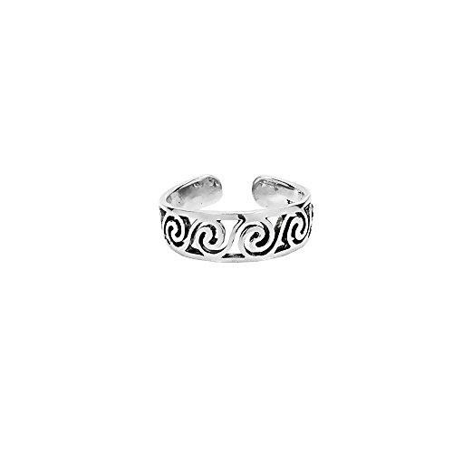 NKlaus 925 PLATA DE ESTERLINA Anillo del dedo del pie Gótico Celta Espiral Patrón abierto 7208