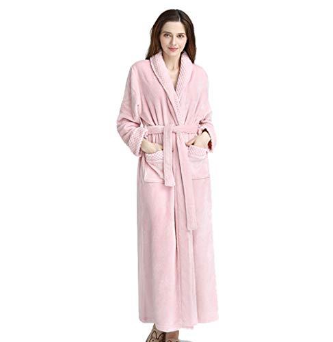 Dehots Bademantel Frottee Saunamantel für Damen Herren Morgenmantel Flauschig Schalkragenmantel Pink