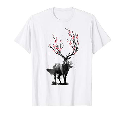 Sakura Hirsch Japanese Cherry Blossom Kirschblüte T Shirt