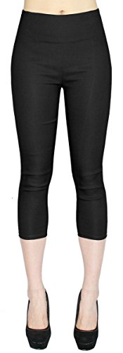 dy_mode High Waist Damen Capri Hose 7/8 Skinny Pants/Slim Fit - Figurformend - viele Farben - CLG077 (38/M, CLG077-Schwarz)
