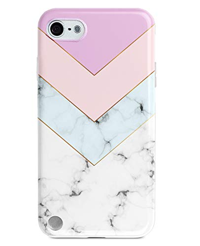 Jwest iPod Touch 7 Case, iPod Touch Case 6th Generation, iPod 5 Case Geometric Marble Pattern Print Design Soft Silicone Cover Slim TPU Sturdy Protective Back Phone Case for iTouch 5/6/7 Marble