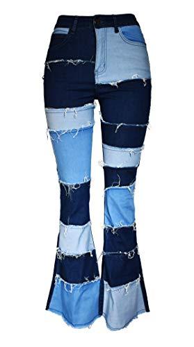 Aodrusa Women Patch Flare Jeans Bell Bottom Raw Hem Denim Pants Blue