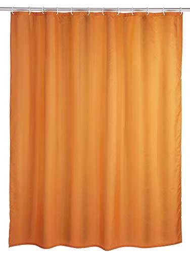 WENKO Anti-Schimmel Duschvorhang Uni Orange - Anti-Bakteriell, Textil, waschbar, wasserabweisend, schimmelresistent, mit 12 Duschvorhangringen, Polyester, 180 x 200 cm, Orange