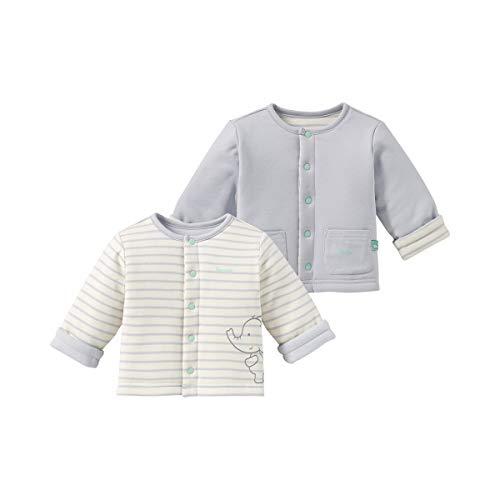 Bornino Wendejacke Mouse & Elephant/Baby Jacke/unisex / 100% Baumwolle/offwhite/light grey