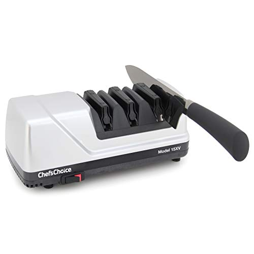 Chef'sChoice Trizor XV EdgeSelect Professional Electric Knife Straight and Serrated Knives Diamond Abrasives Patented Sharpening System, 3-stage, Gray