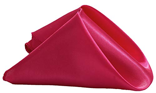 "mds pack of 50 Wedding 12""X 12"" Square Satin Napkin or Handkerchief For Wedding Banquet Decoration - Magenta"