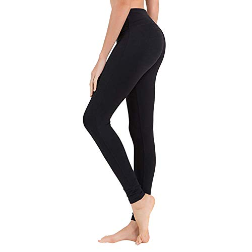 High Waisted Leggings for Women - Soft Athletic Tummy Control Pants for Running Cycling Yoga Workout - Reg & Plus Size Dark Black