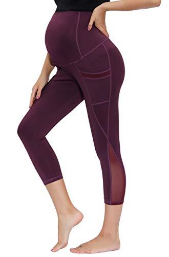 Maacie Women Maternity Yoga Tops Crew Neck Sleeveless Mesh Workout Gym ShirtsTank Top