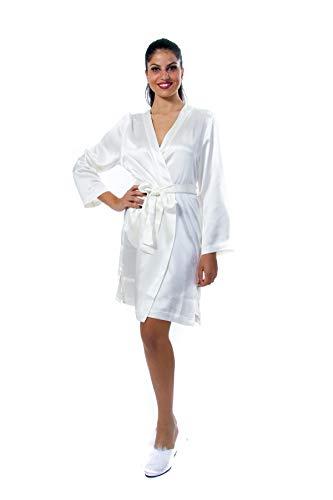 LA PERLA STUDIO Kimono 3/4 in zuivere gladde Ivoorzijde, ideaal voor de bruid voor de ochtend van de bruiloft.