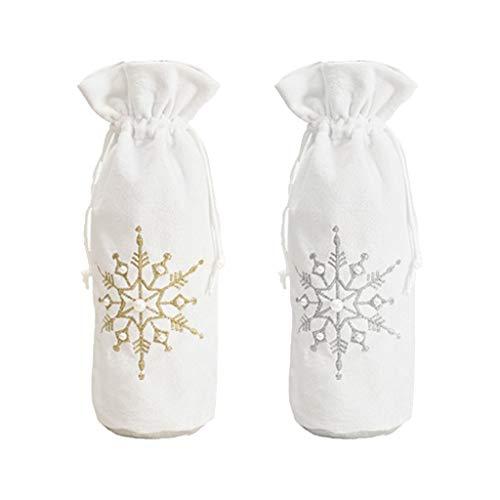 WOWOWO 2 Piezas Navidad Copo de Nieve champán Botella de Vino Tinto Cubierta con cordón Bolsa decoración