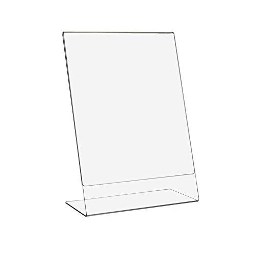 10 Stück DIN A4 L-Ständer/Werbeaufsteller / Tischaufsteller im Hochformat aus glasklarem Acrylglas/Acryl / Plexiglas® mit glänzend polierten Seitenkanten - Zeigis®