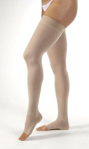 BSN Medical/Jobst 115545 Opaque Compression Hose, Thigh High, 20-30 mmHg, Open Toe, Medium, Natural